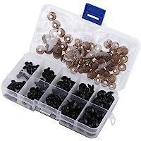 Paquete de 100 conjuntos de ojos de muñeca de plástico, ojos de seguridad negros con conjuntos de arandelas para hacer muñecas, 6,8,9,10,12 mm
