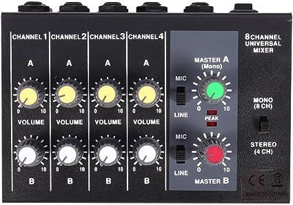 Seasaleshop Consola de Mezclas Studio Consola de Mezclas USB Mesa de Mezclas de Audio Digital 8 Canales Consola de Mezclas Universal Karaoke: Amazon.es: Electrónica