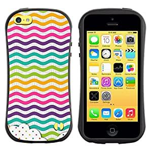 Suave TPU GEL Carcasa Funda Silicona Blando Estuche Caso de protección (para) Apple Iphone 5C / CECELL Phone case / / Dot Waves Lines Rainbow Color /