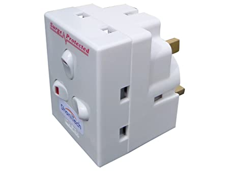 5 x 3 WAY PLUG-IN SURGE PROTECTED NEON SWITCHED SOCKET ADAPTOR 13A UK MAINS PLUG