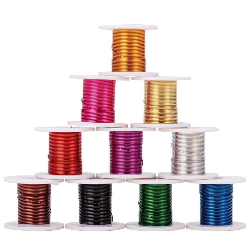 pandahall Loisirs Creatifs 1 Boite de 12 Bobines Fils Cuivre Couleurs Al/éatoire 0,3mm Pour DIY Bijoux
