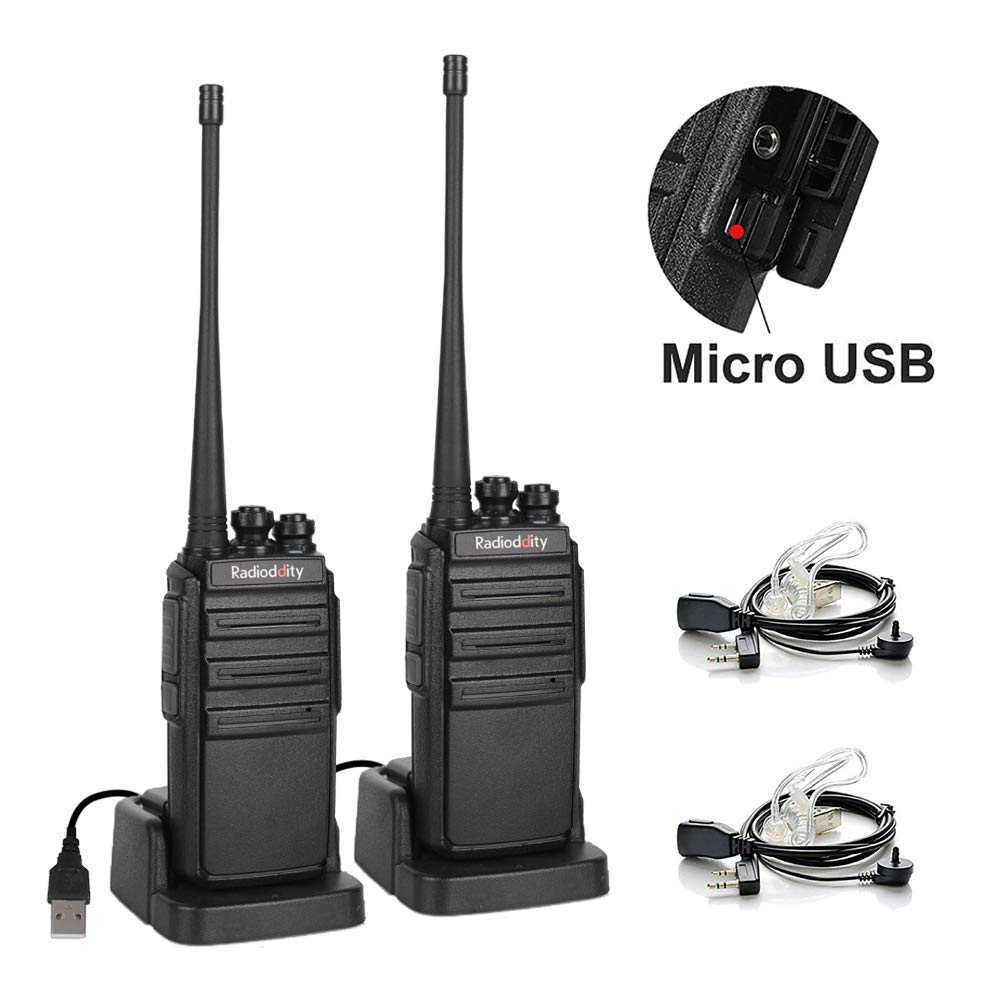 Radioddity GA-2S UHF Two Way Radio 16CH Rechargeable VOX Long Range Walkie Talkies with Micro USB Charing + USB Desktop Charger + Air Acoustic Earpiece, 2 Pack