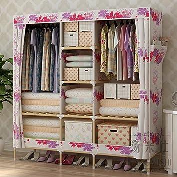 Fácil minimalista armario ropero tela Oxford negrita cofres de madera 1,5D,150 doble abrigos de largo y de 45 a 170 W de alta: Amazon.es: Hogar