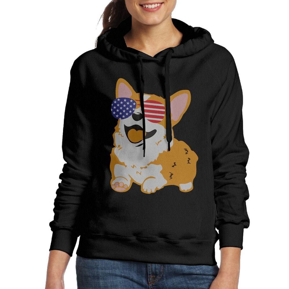 Corgi American Flag Patriotic Sunglasses Casual Women Hoodies Long Sleeve Drawstring Sweatshirt M
