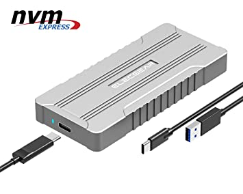 ElecGear NVMe USB 3.1 Estuche, NVMe PCI-e M.2 SSD Caja de Carcasa, NV-M01 Disco Duro Adaptador, Aluminio Compartimiento Radiator Case, 2280 PCIe M2 ...