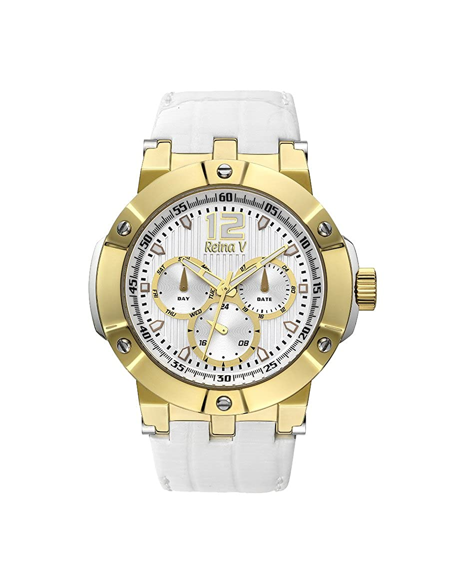 d2b74c88ee Gold Plated Stainless Steel Womens Wristwatch With White Genuine Leather  Strap - Analog Display