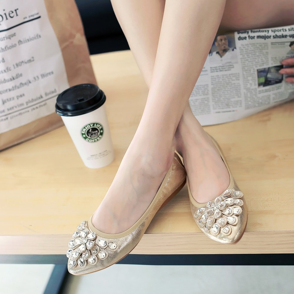 Meeshine Womens Foldable Soft Pointed Toe Ballet Flats Rhinestone Comfort Slip on Flat Shoes(8 B(M) US,Gold 01) by Meeshine (Image #6)