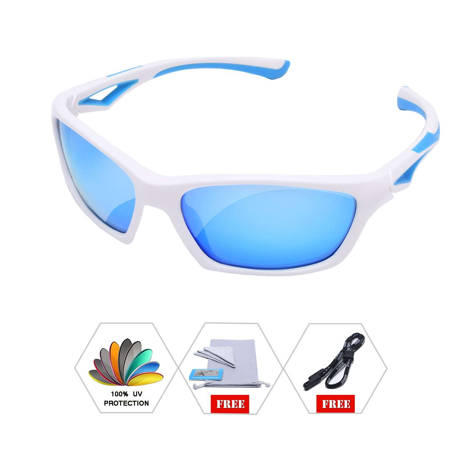 AODUOKE Sports Polarized Sunglasses For Kids Children Boys And Girls Shades With Strap TR90 Unbreakable Frame (White/Blue | Blue Lens)