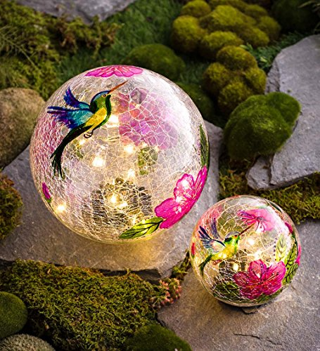 Plow & Hearth 54507 Solar Hummingbird Globes Yard Art, Multicolored ()