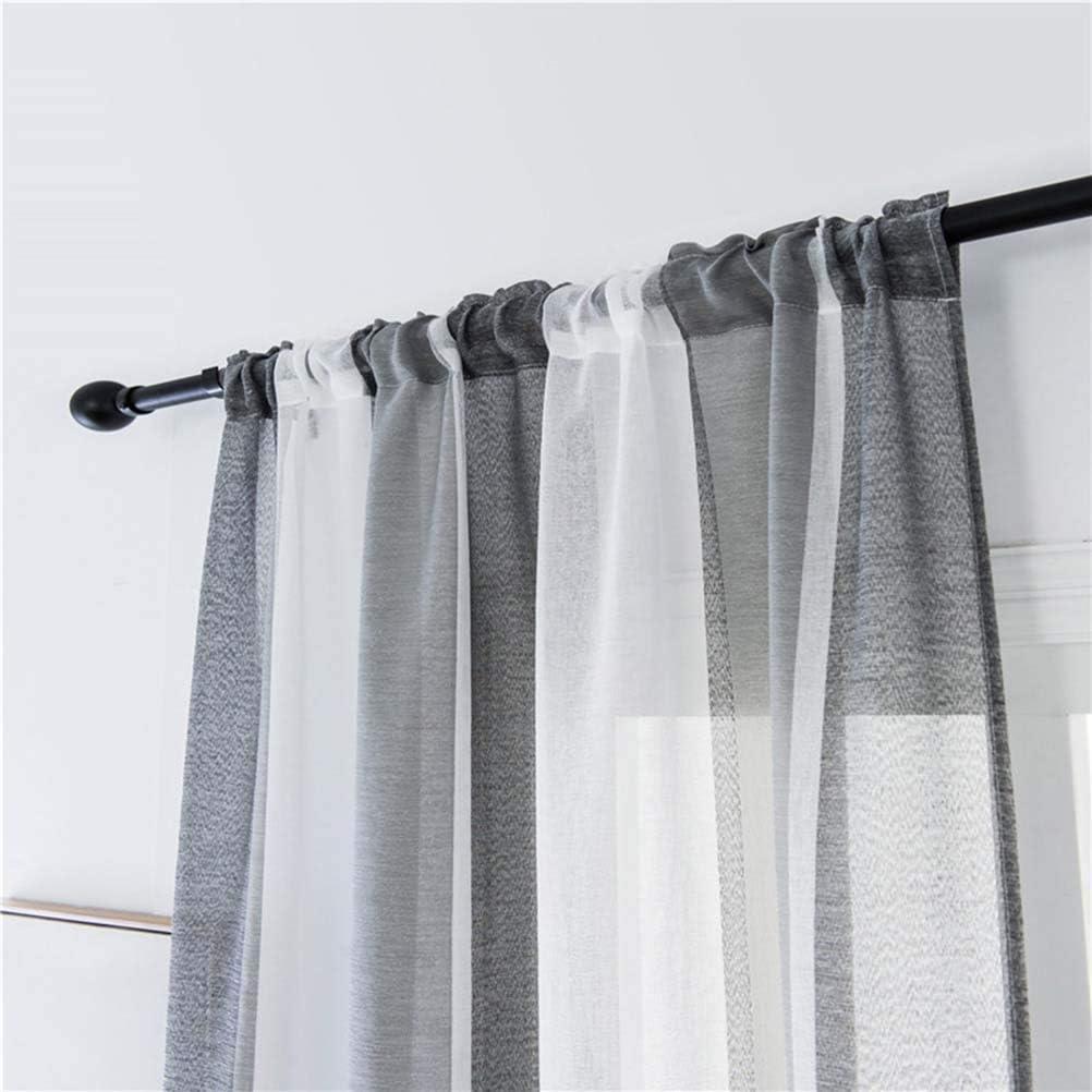 VOSAREA Gestreifte Gardinen für Badezimmer Schlafzimmer 11 x 11cm (Grau  Weiß)