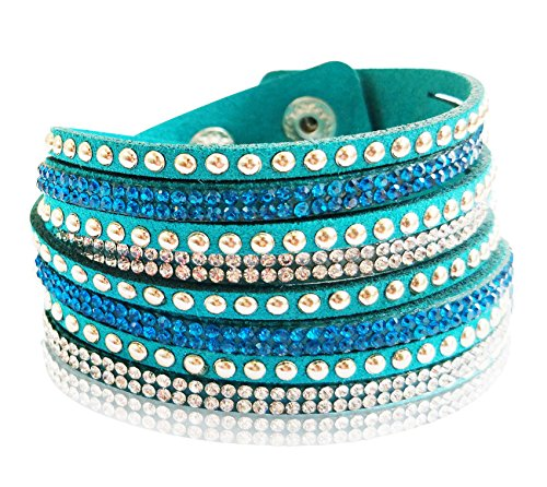 Suyi Crystal Leather Adjustable Bracelet