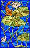 Orange Koi Fish in Blue Pond with Water Lillies -Vinyl Stained Glass Film, Static Cling Window Decal