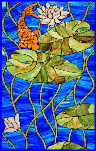 Amazoncom Orange Koi Fish In Blue Pond With Water Lillies Vinyl - Vinyl window decals amazon
