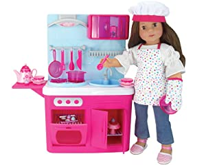 "Sophia's 18"", Doll Kitchen with 19 Pieces, Features Lights & Sounds, Pink, Blue"