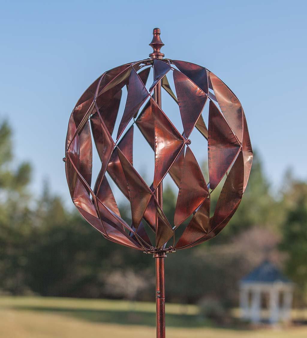 Plow & Hearth 54472COP Harlequin Ball Wind Sculpture, Copper