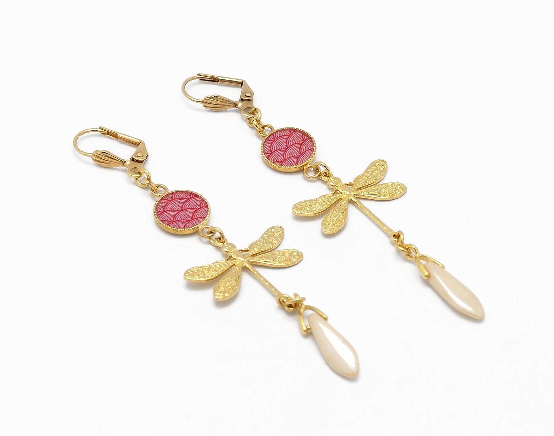 SEIGAIHA oro Pendientes de coral rosa japonés Dragonfly Japón regalos Joyería de cumpleaños de Navidad ceremonia de boda dama de honor invitados día de la madre