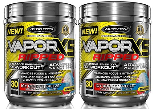 MuscleTech VaporX5 Ripped Explosive Energy Preworkout 60 Servings (2x30 Serv) Icy Rocket Freeze