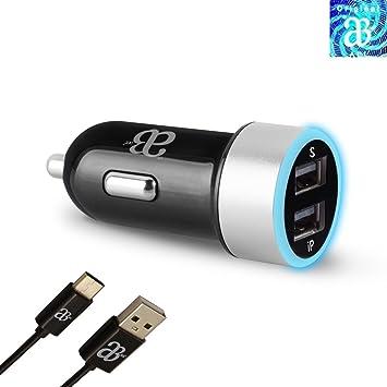 Dual 2 puertos AEL® Negro y Plata con luz LED adaptador de ...
