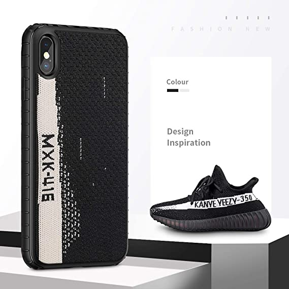 super popular e33c4 2b3b8 Amazon.com: iPhone X Case, [Yeezy 350] Knitted Fabric Cover with ...