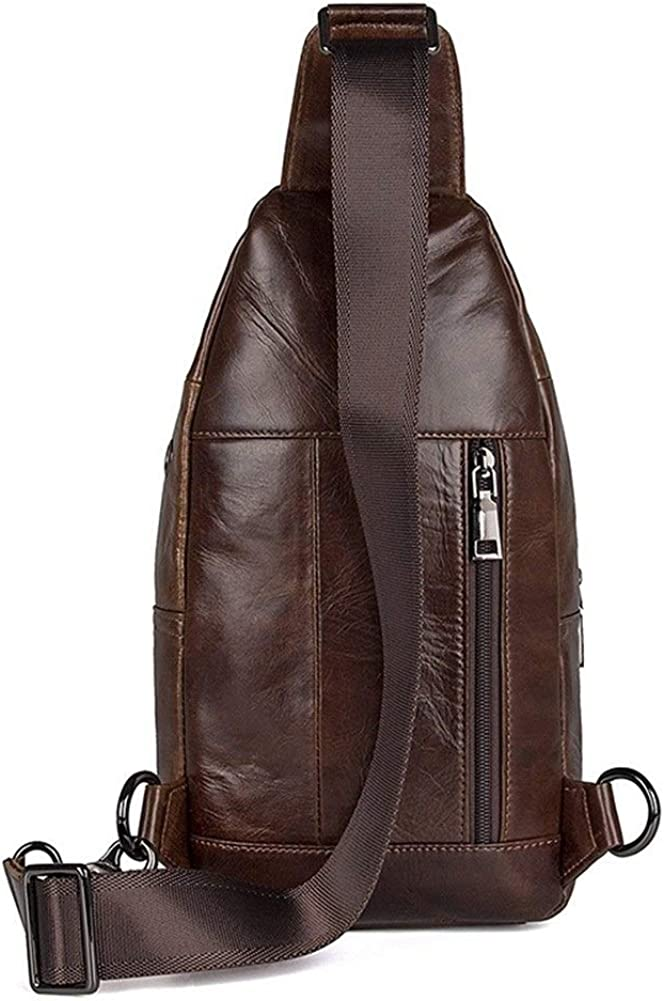 JIUYAODIANZI Back Pack First Layer Cowhide Retro Shoulder Bag Diagonal Outdoor Riding Wallet Clip Bag Leisure Backpack