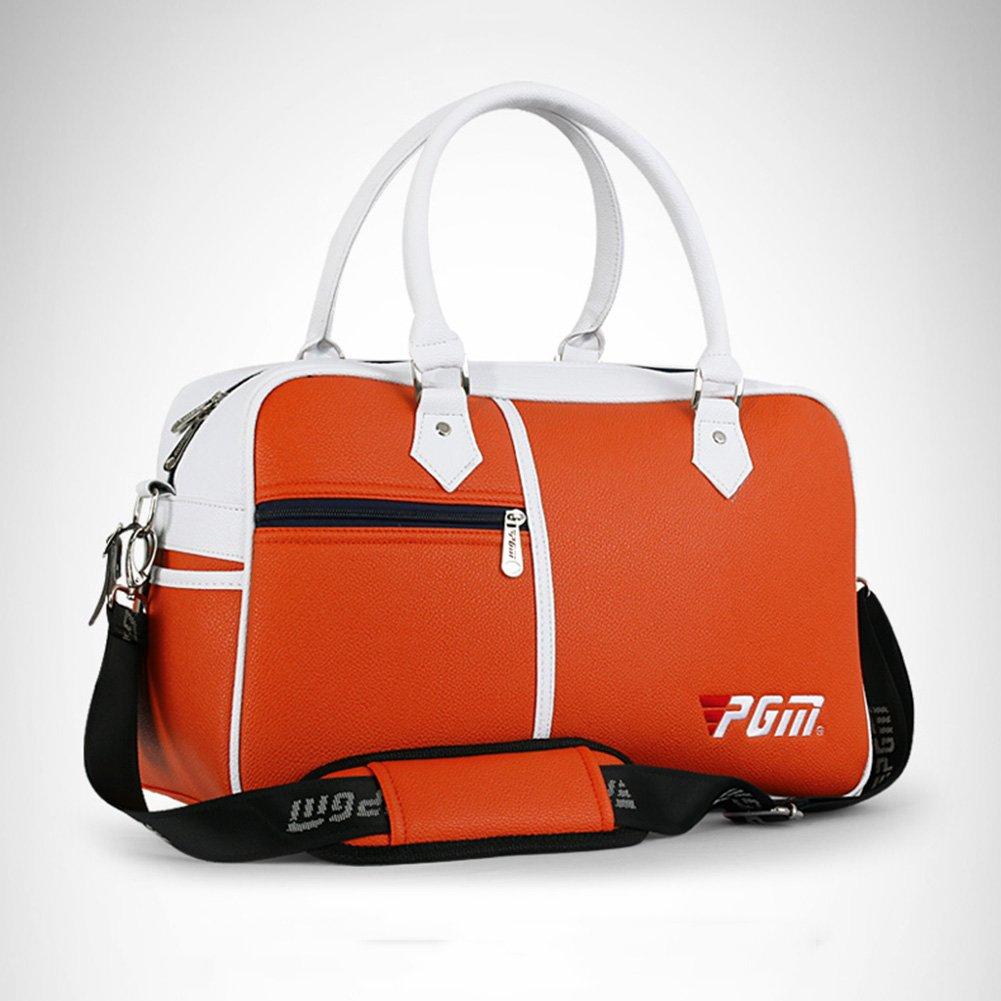 PGM PU Golf Duffle Bag Golf Clothing Bag,Boston Bag---with Seperate Shoes Store bag (orange)