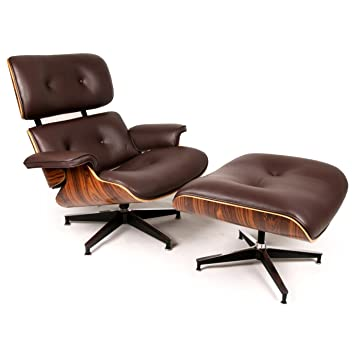 Kardiel Eames Style Plywood Lounge Chair & Ottoman, Choco Brown  Aniline/Palisander