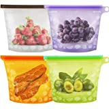 LESON Reusable Food Bags Silicone Food Storage Containers Versatile Cooking Bags Preservation Airtight Seal Bags for Freeze Steam Heat Microwave Fruits Vegetables Meat Milk (4 Packs)