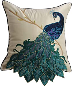 vctops Elegant Embroidered Peacock Decorative Throw Pillow Case Silky Satin Cushion Cover Peacock 2 18