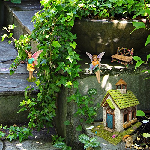 Mood Lab Fairy Garden Fairy House   Miniature Fairy Garden Figurines  Accessories   Set Of 5