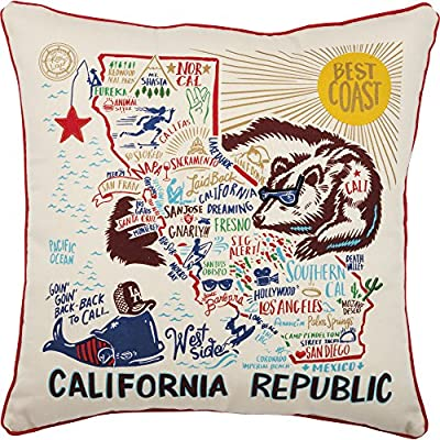 Primitives by Kathy Home State California Republic Decorative Throw Pillow, 20-Inch Square, - Decorative throw pillow shows off your state pride 20-Inch square; 100% polyester fiber insert Fun, brightly colored design filled with everything California is famous for - living-room-soft-furnishings, living-room, decorative-pillows - 61adIs7j5LL. SS400  -