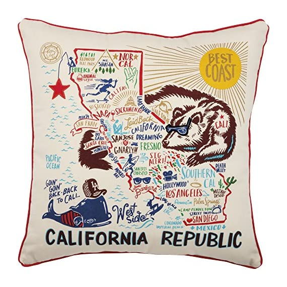 Primitives by Kathy Home State California Republic Decorative Throw Pillow, 20-Inch Square - Decorative throw pillow shows off your state pride 20-Inch square; 100% polyester fiber insert Fun, brightly colored design filled with everything California is famous for - living-room-soft-furnishings, living-room, decorative-pillows - 61adIs7j5LL. SS570  -