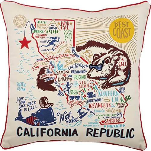 61adIs7j5LL - Primitives by Kathy Home State California Republic Decorative Throw Pillow, 20-Inch Square