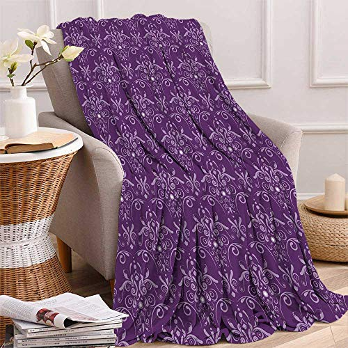maisi Eggplant Digital Printing Blanket Damask Pattern with Symmetrical Abstract Leaves and Swirls Forming Unified Look Summer Quilt Comforter 62