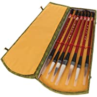 Prettyia 7 Pieces Calligraphy Brush Pen Chinese Traditional Writing Painting with Delicate Gift Box