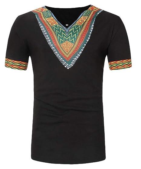 e0e711b48 Alion Men Ethnic Style Short Sleeve V-Neck African Print T-Shirt Black XXS