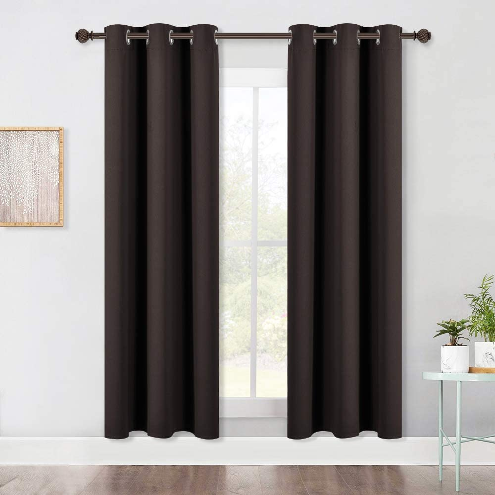 NICETOWN Blackout Curtain Panels for Kids Room, Energy Smart Thermal Insulated Solid Grommet Top Blackout Draperies/Drapes (2 Panels, 42-Inch x 72-Inch, Toffee Brown)