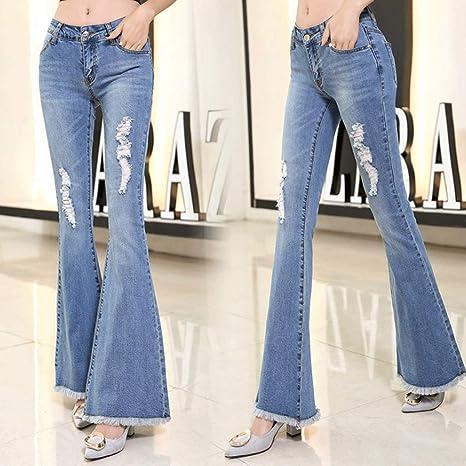 ecc42178e0 RXF Pantaloni larghi con fondo a campana in jeans a vita alta ...