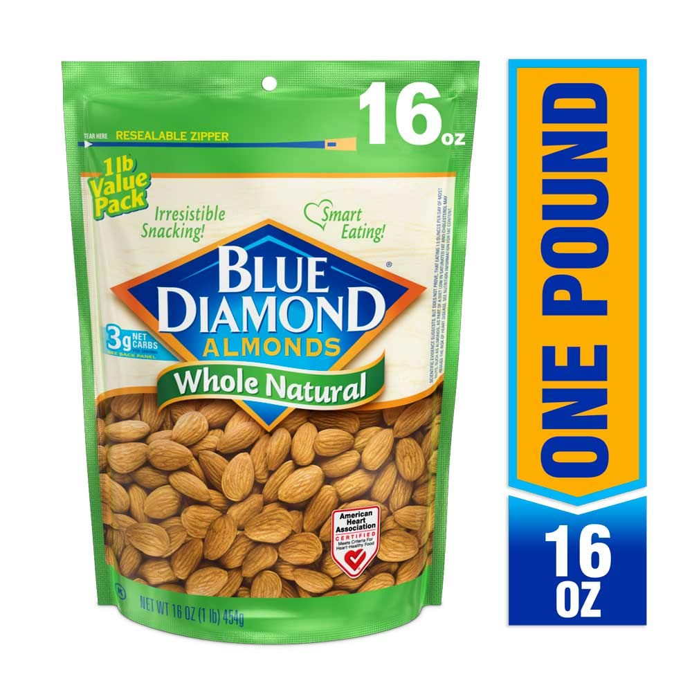 Blue Diamond Almonds, Raw Whole Natural, 16 Ounce