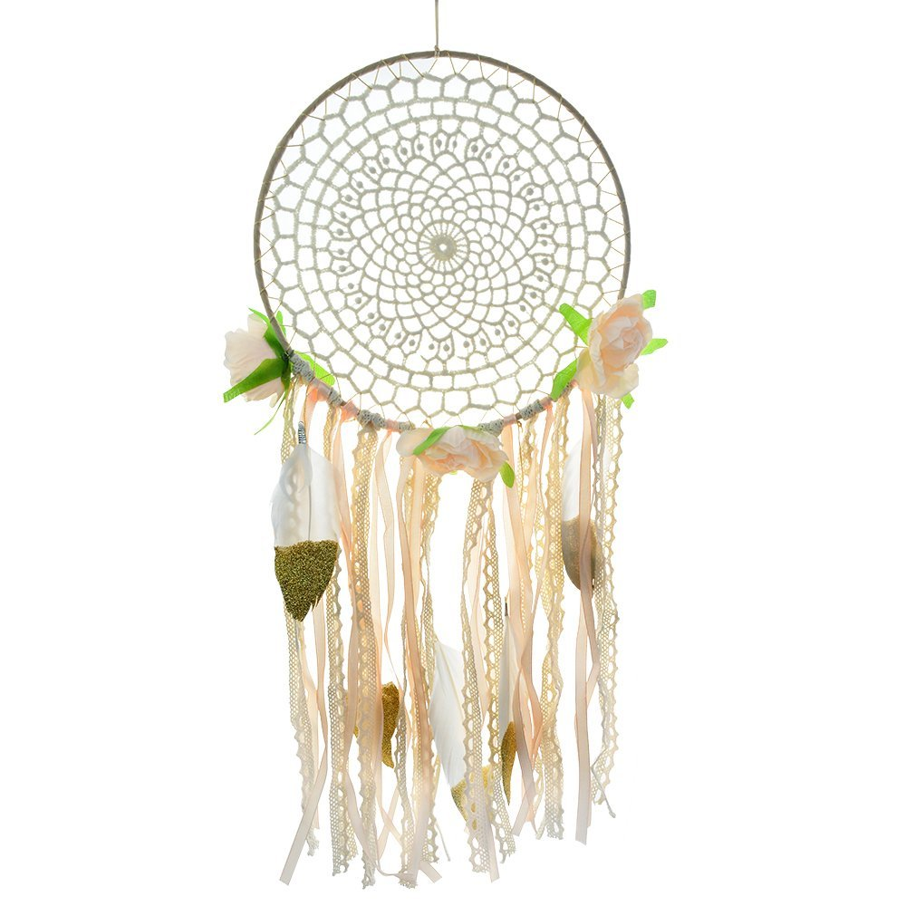 baotongle Dream Catcher Handmade White Gold Feather Dreamcaters with Flowers for Wall Hanging Decoration, Wedding Decoration Craft Dia 7.8\