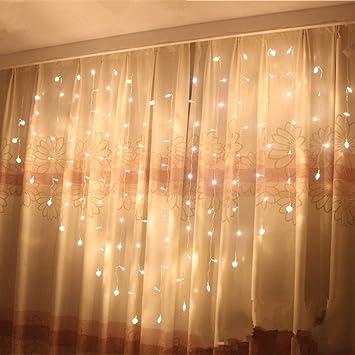 Eplze LED Rideau de Lumière 36pcs Coeur d\'amour Autour de 2m x 1.5m 124  LEDs 8 Modes Commandables Résistant à l\'eau Lumière Cordes pour la Fête ...