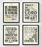 Joshua 1:9, Proverbs 3:5, Jeremiah 29:11, Philippians 4:13 Christian ART PRINTS Set of 4, UNFRAMED, Bible verse scripture wall decor poster, 8x10 inches