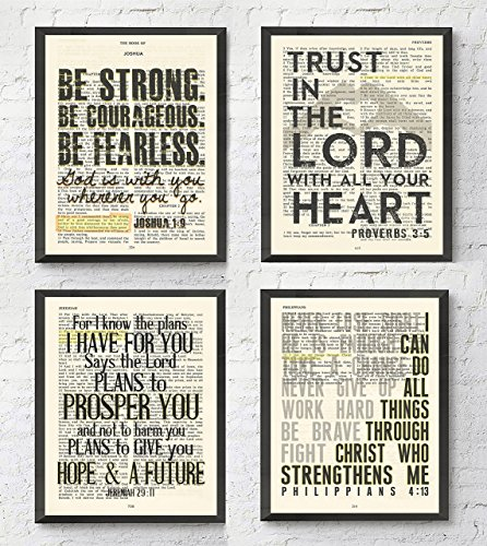 1 Art Print - Joshua 1:9, Proverbs 3:5, Jeremiah 29:11, Philippians 4:13 Christian ART PRINTS Set of 4, UNFRAMED, Bible verse scripture wall decor poster, 8x10 inches