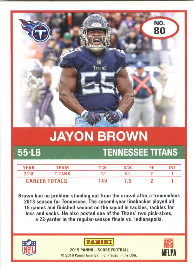 newest f2ea3 4558c 2019 Score Football #80 Jayon Brown Tennessee Titans at ...