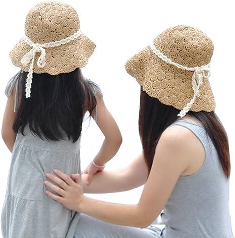 1pcs Beautiful Elegant Decor Sun Cap Straw Sun Hat for Outdoor Kid Child Travel Girl,Khaki