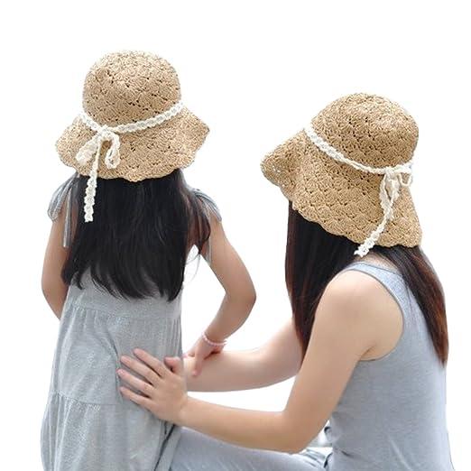 6aef6ede Aniwon 2Pcs Sun Cap UV Protection Wide Brim Straw Hat Sun Hat for ...