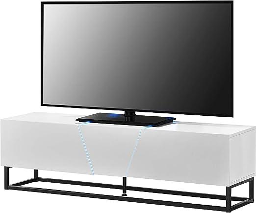 en.casa Mesa de tele con LED 140x35x41cm Con compartimientos para ...