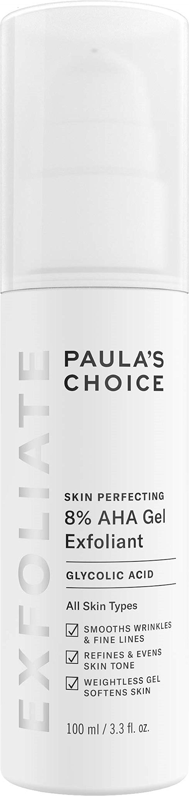Paula's Choice SKIN PERFECTING 8% AHA Gel Exfoliant with Glycolic Acid Chamomile & Green Tea, 3.3 Ounce Pump Leave-On Gentle Exfoliator by PAULA'S CHOICE