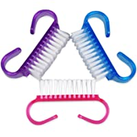 TRIXES Pack of 3 Nail Brush for Cleaning Nails Miniature Travel Brushes in Assorted Colours Cleaning Beauty Aid