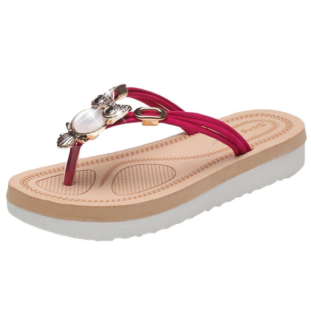 Sentao Frauen Sommer Bouml;hmen Rhinestone flip flop Sandalen Clip Toe Rouml;mische Strand Hausschuhe  Asia36 (L?nge:23.0cm)|Rosa