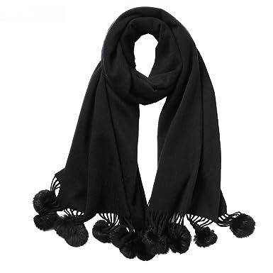 9f791e7fc53d Gwell Femme Echarpe Châle Hiver Automne en Cachemire Pompon Couleur Pure  Noir 70 x 180 cm